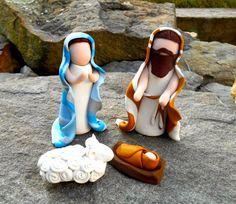 Christmas Nativity, Clay Nativity, Clay Manger Scene, Polymer Clay Nativity, Jesus, Mary, Joseph Miniature Set