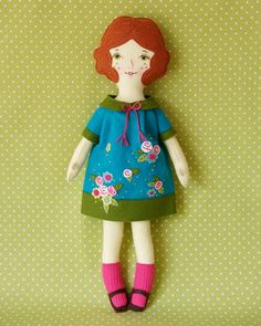 Rosie Handmade Wool Felt Finished Doll by LolliDolls on Etsy (also available as a PDF pattern)