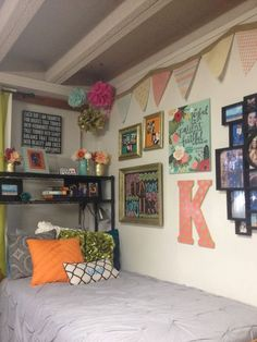 dorm ideas: gray, white, orange, green, and pink color scheme.... love the wall