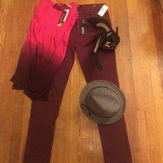 Selling this Faith skinny mid rise stretch burgundy jeans in my Poshmark closet! My username is: septemberlover. #shopmycloset #poshmark #fashion #shopping #style #forsale #Buffalo David Bitton #Denim