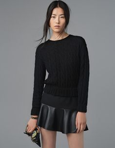 MINI SKIRT WITH LEATHER FRILL - Skirts - Woman - ZARA