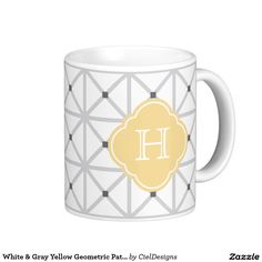 White & Gray Yellow Geometric Pattern Monogram Coffee Mug