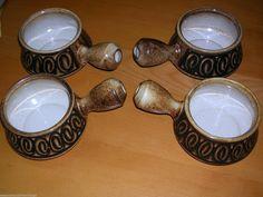 SALE Vintage Set Four Iden Pottery Soup Bowls Rye Hippy Dark Brown 1970's Retro   eBay