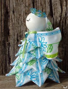 Angel Quilted Ornament Spring Blue and Green - Blossom