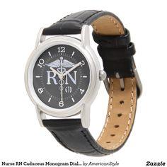 Nurse RN Caduceus Monogram Dial Style on Black Wrist Watch