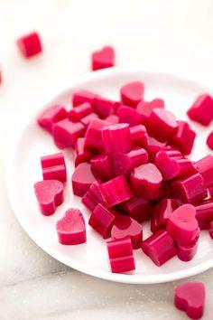 strawberry beet heart gummies