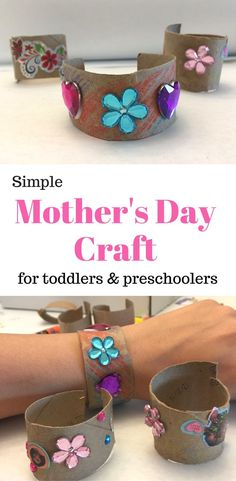Mother's Day Craft Bracelets- Mother's Day gift idea for kids Mother's Day craft toddlers can make for Mom. Grandma or Mom would love this handmade DIY gift even toddlers or preschoolers can make! Diy Father's Day Gifts Easy, Easy Mother's Day Crafts, Homemade Mothers Day Gifts, Mothers Day Crafts For Kids, Mother's Day Diy, Mother Day Gifts, Gifts For Kids, Crafts Toddlers, Mothers Day Decor