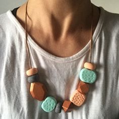 """Image of Polymer clay """"Bowerbird"""" necklace Peach, Mint, Copper"""