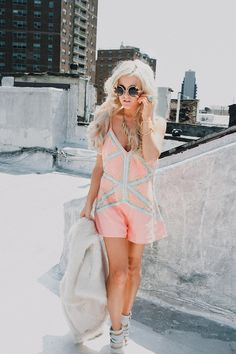 Rachel from I Hate Blonde in the Nasty Gal Pretty Young Bling Romper || Get the romper: http://www.nastygal.com/clothes/nasty-gal-pretty-young-bling-romper?utm_source=pinterest&utm_medium=smm&utm_term=ngdib&utm_content=nasty_gals_do_it_better&utm_campaign=pinterest_nastygal