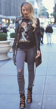 Casual Fall / Winter Look | Leather Jacket | Skinny Jeans | Heels