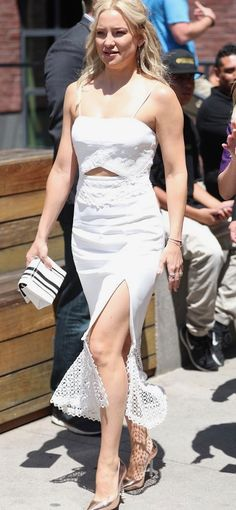 Kate Hudson lace trimmed white cut-out dress