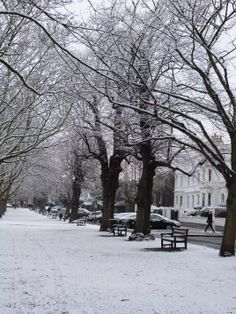 Richmond Green in the snow, London, UK