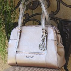 NWT GUESS Huntley Cali Satchel Handbag Faux Leather Rose Gold Guess Bags Satchels