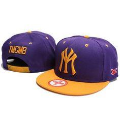YMCMB NY Snapback Hats - Purple