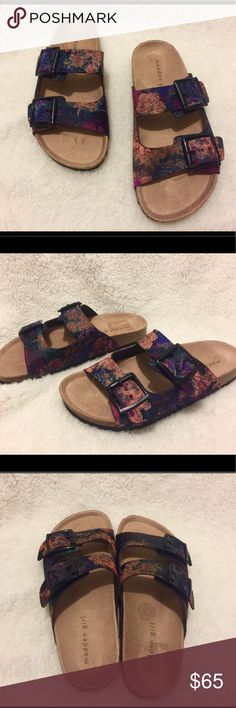 Madden Girl Floral Slides These are madden girl floral slides in size 7. They look very similar to Birkenstock slides. These are new, never worn slides with black buckles. Feel free to ask any questions! Madden Girl Shoes Sandals