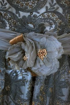 Detail on Pierre Balmain Couture Party Dress (metallic gold embroidered in charcoal gray floral silk organza). Bleu Pale, Art Du Fil, Shibori, Fru Fru, Lesage, Grey And Gold, Blue Gold, Pierre Balmain, French Blue