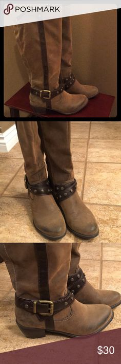"Tall brown suede boots EUC distressed look with faux leather strap detail and brass accents. 2"" heel and Madeline Shoes Heeled Boots"