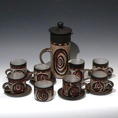 Briglin Pottery Scroll Coffee Set