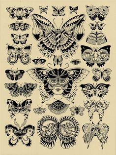 Butterflies Tattoo Flash | KYSA #ink #design #tattoo
