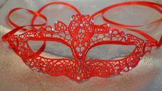 Red Diamante Lace Masquerade Mask Satin Ribbon Ties - Weddings, New Year's Party, Valentine's Gift, Masquerade Balls, Proms, Christmas Party by SpecialEventsDecorUK on Etsy