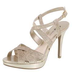 "Complete your look with this shimmery sandal from Fioni Night! It features a glittered, strappy upper, adjustable ankle strap, metallic lining, padded insole, 4"" wrapped heel with a near 1"" platform, and a sturdy outsole. Manmade materials."