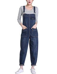 a5a6fe64872 Lentta Women s Loose Baggy Denim Bib Harem Overalls Romper Jumpsuit Pants  (X-Large