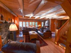 Edwards cabin rental - Great Room Aglow with Setting Sunlight.