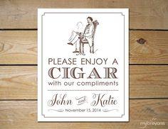 Vintage Poster Cigar Bar Sign Custom Wedding by MyCrayonsPapeterie