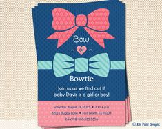 Bowtie or Bow Gender Reveal Party Invitations by KatPrintDesigns, $15.00