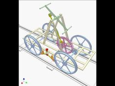 Swing green double lever to move the car via a 4 bar linkage and a gear drive. Reverse of swinging means reversing the car. Mechanical Gears, Mechanical Design, Diy Spinning Wheel, Cars Youtube, Gear Drive, Rail Car, Simple Machines, Pedal Cars, Metal Furniture