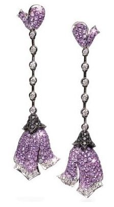 """""""Endless Love"""" earrings in purple sapphires and black and white diamonds in 18K gold"""