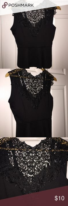 Lace Peplum Top Black peplum top with lace neck. String tie back on the back of neck. Tops