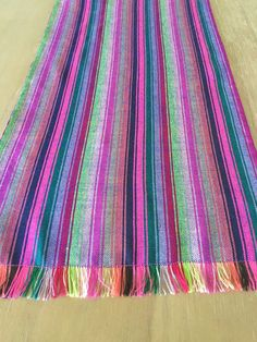 Mexican table runner, tablecloth, placemats or napkins. Striped colorful lilac fabric, woven details, Boho Chic decor, Rustic tribal linens