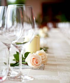 Short centerpieces keep the conversation flowing at your table!