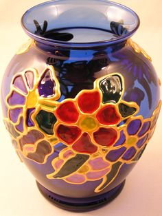 Midnight Floral Bouquet handpainted blue glass flower vase hopeistheseed #teamsellit