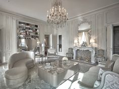 Crystal chandelier by Mathieu Lustrerie for the suit designed by Karl Lagerfeld in the Hotel de Crillon