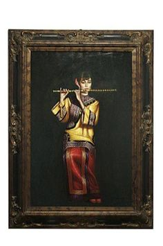 TIBETAN STYLE OIL PAINTING OF A LADY PLAYING FLUTE : Lot 25