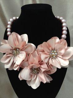 Smoky Pink Flower Bib Necklace by GottaHaveitLV on Etsy, $29.00