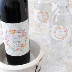 Wedding Wine Label on Bordeaux Shaped Bottle