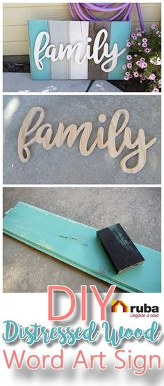 DIY Family Word Art Sign Woodworking Project Tutorial - Turquoise Tones New Wood. DIY Family Word Art Sign Woodworking Project Tutorial - Turquoise Tones New Wood Distressed to look like weathered Barn Wood Do it Yourself Home Decoration Pallet Crafts, Diy Wood Projects, Woodworking Projects, Projects To Try, Woodworking Furniture, Woodworking Plans, Furniture Plans, Pallet Furniture, Family Art Projects
