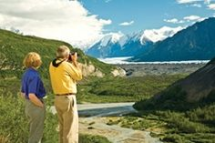Visitors viewing Matanuska Glacier, Alaska