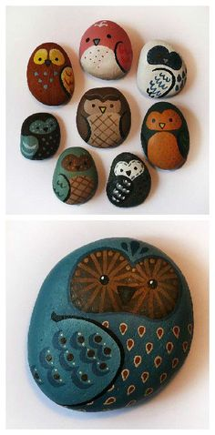 Image result for how to paint an owl on rock step by step
