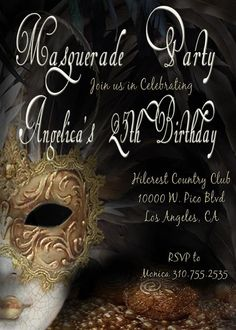 Masquerade Invitation Blank Downloadable Masquerade invitations