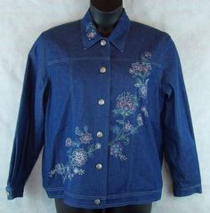 Alfred Dunner Blue Denim Coat Colorful Embroidery Women's Button Jacket - 12 #AlfredDunner #JeanJacket