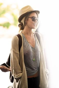 Audrina Patridge in cardigan and trilby - casual travel style