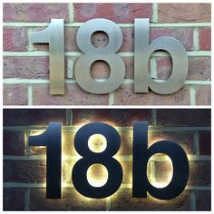 Day and Night view of illuminated Helvetica house numbers from Housenumbers Limited