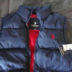 Nwt Ladies U.S.Polo vest xl aprx 50 in bust NWT navy blue vest red lining Polo U. S. Polo Asso Jackets & Coats Vests