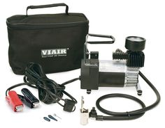VIAIR Portable Compressor - Viair Portable Compressor is a small but powerful portable compressor kit capable of inflating up to 31 inch tires by simply clamping the power leads to the battery terminal, connecting the lever style tire chuck t Best Small Air Compressor, Best Portable Air Compressor, Battery Clamp, Truck Tyres, Tired, 3 D, Pumps, Bags, Stuff To Buy