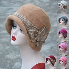 f3c0d446999bc Details about Womens 1920s Gatsby Style Flapper Downtown Abbey Wool Cloche  Bucket Cap Hat A374