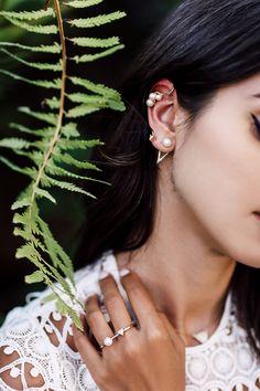 Modern way to wear pearls - pearl ear cuff + pearl & crystal ear jacket